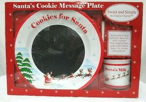 Cookies for Santa Message Plate Cup w/ Chalk Set Melamine Child To Cherish NEW