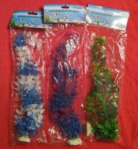 "(One) 14"" Artificial Plastic Decoration Aquarium Plant For Fish Tank- Blue White"