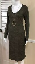 V Neck Sweater Dress Long Sleeve Olive Sweater Work Dress Size L Made In USA