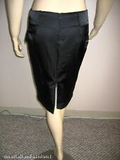NWT ITALIAN DESIGNER BLACK SKIRT SATIN LOW RISE ZIPPERED NEW M 8 MADE IN ITALY