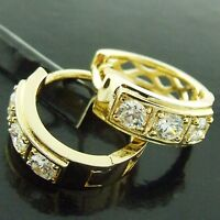 HOOP HUGGIE EARRINGS REAL 18K YELLOW G/F GOLD GENUINE DIAMOND SIMULATED DESIGN