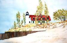 Point Betsy Lighthouse on Lake Michigan, Watercolor Reproduction Great Lakes