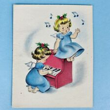 "Norcross Signature 1940s ""A Christmas Duet"" Angels Christmas Card Vintage Unused"