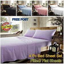 100 % Brushed Cotton Thermal Flannelette Fitted/Flat Sheets / 4Pc Bed Sheet Sets