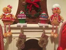 S/2 FAKE CUPCAKE STOCKING HOLDER  PEPPERMINT CHERRY GLITTER XMAS DECOR GIFT