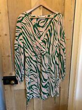 ASOS DESIGN plisse mini dress wrap animal abstract green pink UK 18 BNWOT