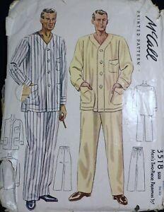 Vtg 1930s McCall 3518 Men's Pajamas Shirt Pants SEWING PATTERN Medium 38-40