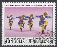 Mongolei Briefmarke gestempelt Tanz Tracht Musik Folklore Jahrgang 1977 / 173