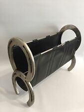 Design giornale SUPPORTO FERRO DI CAVALLO MAGAZINE HOLDER 50s Horseshoe LEATHER Adnet era
