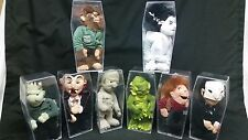 """Complete Set of 8 CVS 9"""" Universal Monsters Dolls 1999 with Coffin Display Cases"""
