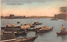 POSTCARD  SINGAPORE -  MALAY BOATS