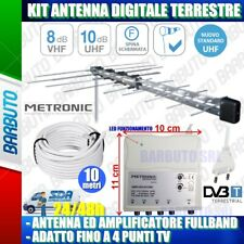 KIT ANTENNA DIGITALE TERRESTRE (FULLBAND) CON AMPLIFICATORE ADATTO FINO A 4 TV
