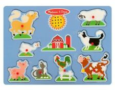 Melissa & Doug Farm Wooden Peg Baby Puzzle With Sound Effects 9 pcs EUC