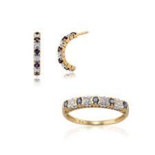 Runde Saphir Schmucksets mit echten Diamanten & Edelsteinen für Damen