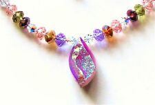 Necklace & Earring Set Vl Designs S83 Sparkly Pink Drusy Quartz And Crystal