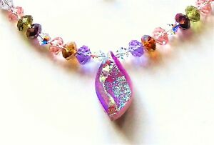 S83 SPARKLY PINK DRUSY QUARTZ AND CRYSTAL NECKLACE & EARRING SET VL DESIGNS