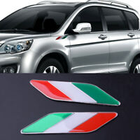 2X Car Side Fender Italy Flag Style Emblem Badge Sticker Decal Fit For All Car