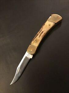 VINTAGE BUCK 110 KNIFE (4) DOT - SAMBAR STAG HANDLE VTG 1981-1983