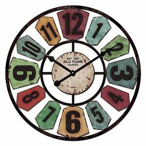 60cm Cafe Home Decor Industrial Shabby Chic Rainbow Windmill Metal Wall Clock