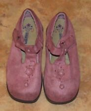 Girl's Smartfit Pink Suede Mary Jane Slip On Shoes Size 11 Flowers