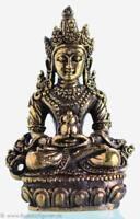Aparimita - Amitayus 4,6 cm - Kleine Buddha Statue - Ministatue - Messing Nepal