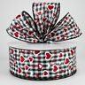 """5 yards, 2.5"""" Wired Ribbon, Red Glitter Hearts & Black/White Check Ribbon"""