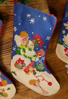 Decorated Clawn Snowman Pretty Needlepoint Christmas Stocking Hand Crafted