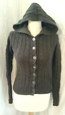 Joie Ladies Cardigan Khaki Green Hooded Cotton Cashmere Cable Knit Button XS