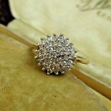 PRETTY 9ct VINTAGE DIAMOND SNOWFLAKE CLUSTER RING APPROX 25 PTS