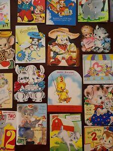 25 Vtg Birthday Greeting Card Diecut Flocked Animals SCRAPBOOK LOT C-1940-50s