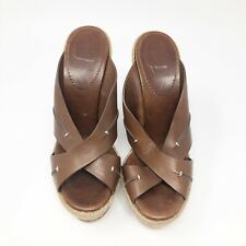 Christian Louboutin Espadrilles Women's Size 38/US 7.5- 8 Brown Leather Wedges