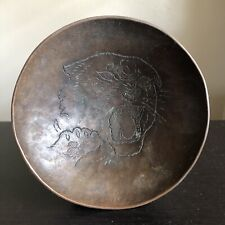 VTG Antique Hammered Copper Bronze Bowl Wildcat Panther Tazza Candy Trinket Art