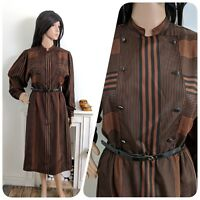 Vintage 70s 80s Windsmoor Bronze Black Stripe Belted Silky Dress Midi 8 10 36