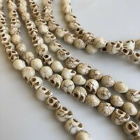 White Howlite skull Beads - 9x8mm Halloween Gemstone Punk Bead 40cm Strand