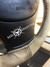 FOR MAZDA XEDOS 9 1992-03 BEIGE LEATHER STEERING WHEEL COVER BLACK DOUBLE STITCH