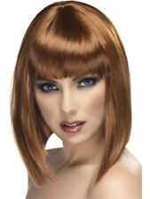 Brown Glam Wig Short, Blunt with Fringe Adult Womens Smiffys Fancy Dress Costume