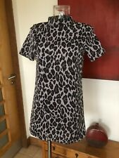 BNWT Misguided Size 10 Grey/Black High Neck Animal Print Shift Dress