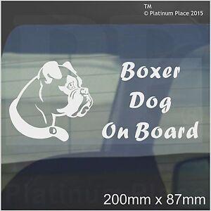 Boxer Dog On Board Sticker-Car,Van,Truck,Vehicle-Self Adhesive Pet Window Sign