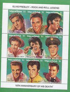 Elvis Presley Rock and Roll Legend Souvenir Stamp Sheet Antigua and Barbuda E18