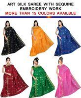 Indian Embroidery sequance Art Silk Sari saree Curtain