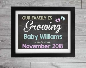 Pregnancy Baby Announcement Chalk Board Style Printed Sign Poster Gift Present
