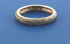 18k yellow gold diamond pave eternity ring 1.22ct round cut diamonds size 6