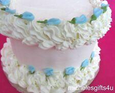 64 Edible Mini Blue Rosebuds Sugar Icing Cake & Cupcake Topper  Flowers