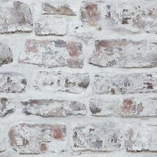 ARTHOUSE REALISTIC WHITEWASHED RUSTIC OLD BRICK WALL QUALITY WALLPAPER 671100