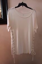 a.n.a. S Ivory Boatneck Side Lace Tie Slub Knit Rayon Trendy T-shirt Tee Top NWT