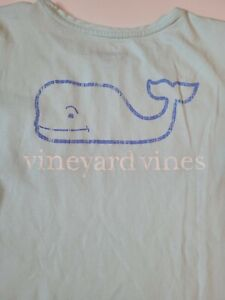 Girls Vineyard Vines Short Sleeve Shirt size XL 16 aqua blue