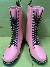 Rare Dr. Martens Pink Shower Vulcanized Rubber Rain Lace Up Boots US10 UK8 EU42