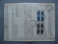 ITALY, parcelpostform from England 1977, mixed franking ao pairs L400 and 100