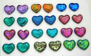 SMALL HEART Lot of 24 pcs handmade DICHROIC earrings FUSED GLASS (BD4) cabs