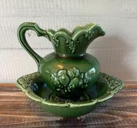 Vintage Camark Pottery Green Pitcher w/ Basin 224 USA